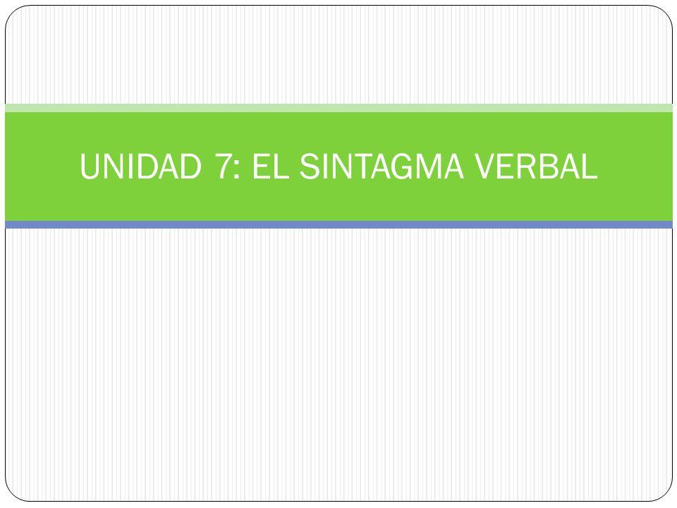 1.EL SINTAGMA VERBAL (SV) El sintagma verbal (SV) es un grupo de palabras cuyo núcleo es un verbo.
