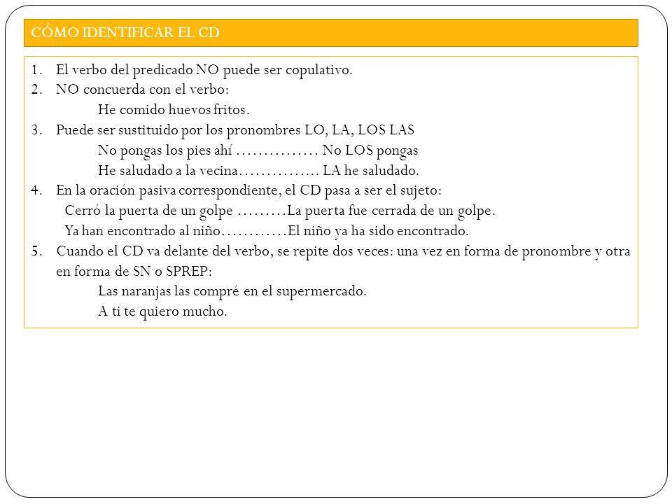 HABÍA ATESORADO AQUELLOS RECUERDOS DURANTE TODA SU VIDA NV DET N E DET DET N SN= SINTAGMA NOMINAL SV= SINTAGMA VERBAL SPREP= SINTAGMA PREPOSICIONAL DET= DETERMINANTE N= NÚCLEO T= TÉRMINO CD= COMPLEMENTO DIRECTO CCT= C.CIRCUNSTANCIAL TIEMPO SN= SINTAGMA NOMINAL SV= SINTAGMA VERBAL SPREP= SINTAGMA PREPOSICIONAL DET= DETERMINANTE N= NÚCLEO T= TÉRMINO CD= COMPLEMENTO DIRECTO CCT= C.CIRCUNSTANCIAL TIEMPO SN/ T SN / CDSPREP/ CCT SV/ PV[S.E.: Él/ Ella]