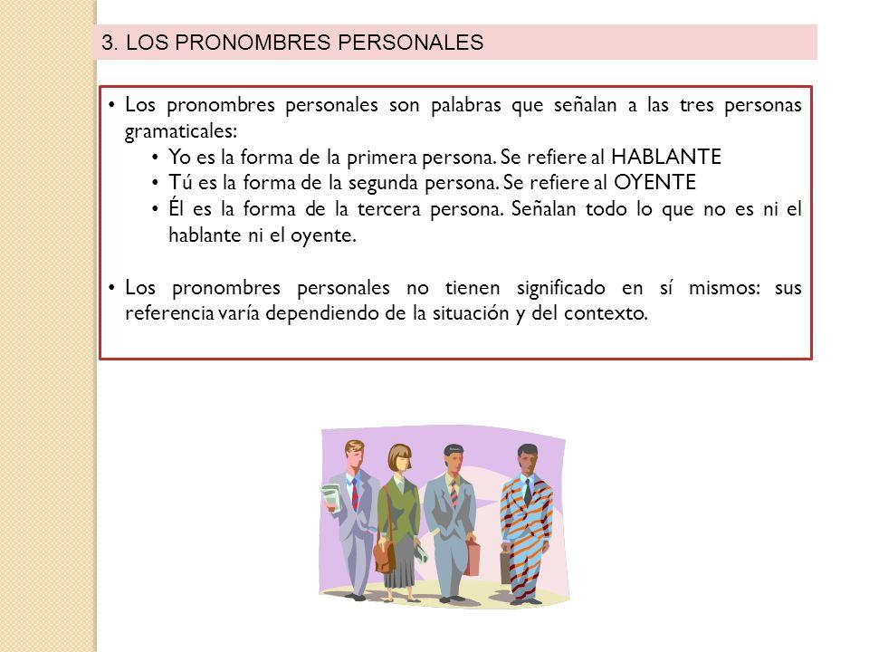 3. LOS PRONOMBRES PERSONALES Los pronombres personales son palabras que señalan a las tres personas gramaticales: Yo es la forma de la primera persona