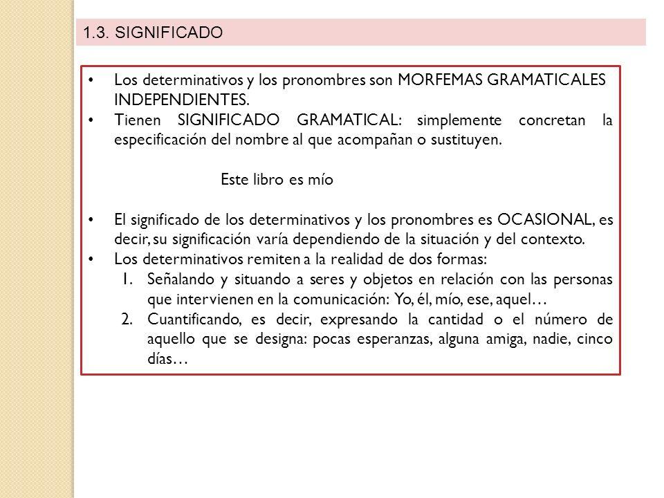 1.3. SIGNIFICADO Los determinativos y los pronombres son MORFEMAS GRAMATICALES INDEPENDIENTES. Tienen SIGNIFICADO GRAMATICAL: simplemente concretan la