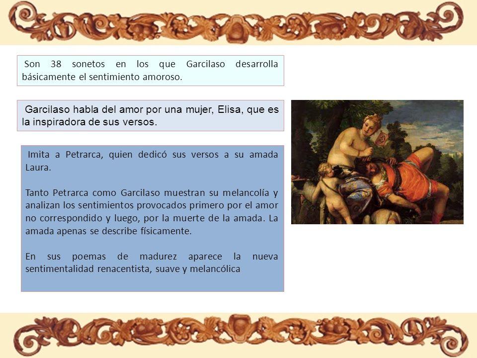 Son 38 sonetos en los que Garcilaso desarrolla básicamente el sentimiento amoroso. Garcilaso habla del amor por una mujer, Elisa, que es la inspirador