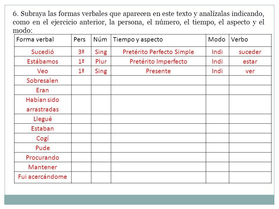6. Subraya las formas verbales que aparecen en este texto y analízalas indicando, como en el ejercicio anterior, la persona, el número, el tiempo, el