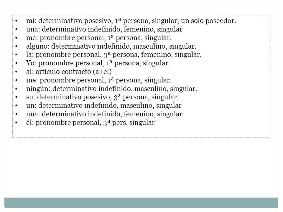 mi: determinativo posesivo, 1ª persona, singular, un solo poseedor. una: determinativo indefinido, femenino, singular me: pronombre personal, 1ª perso