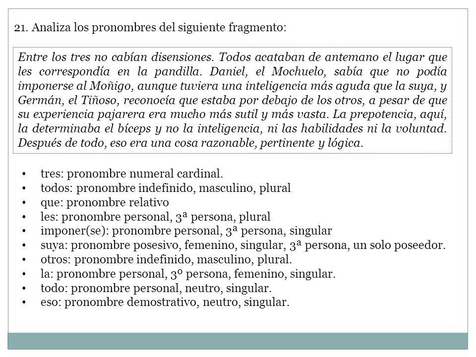 21. Analiza los pronombres del siguiente fragmento: Entre los tres no cabían disensiones. Todos acataban de antemano el lugar que les correspondía en