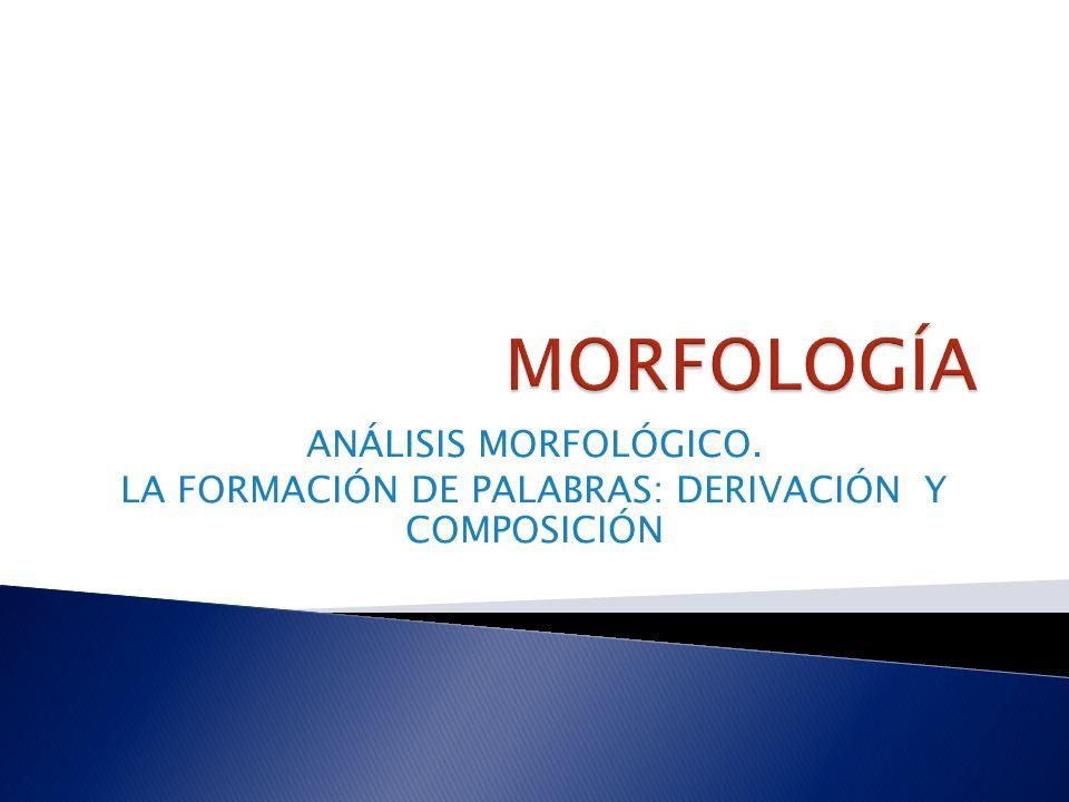 ANÁLISIS MORFOLÓGICO. LA FORMACIÓN DE PALABRAS: DERIVACIÓN Y COMPOSICIÓN
