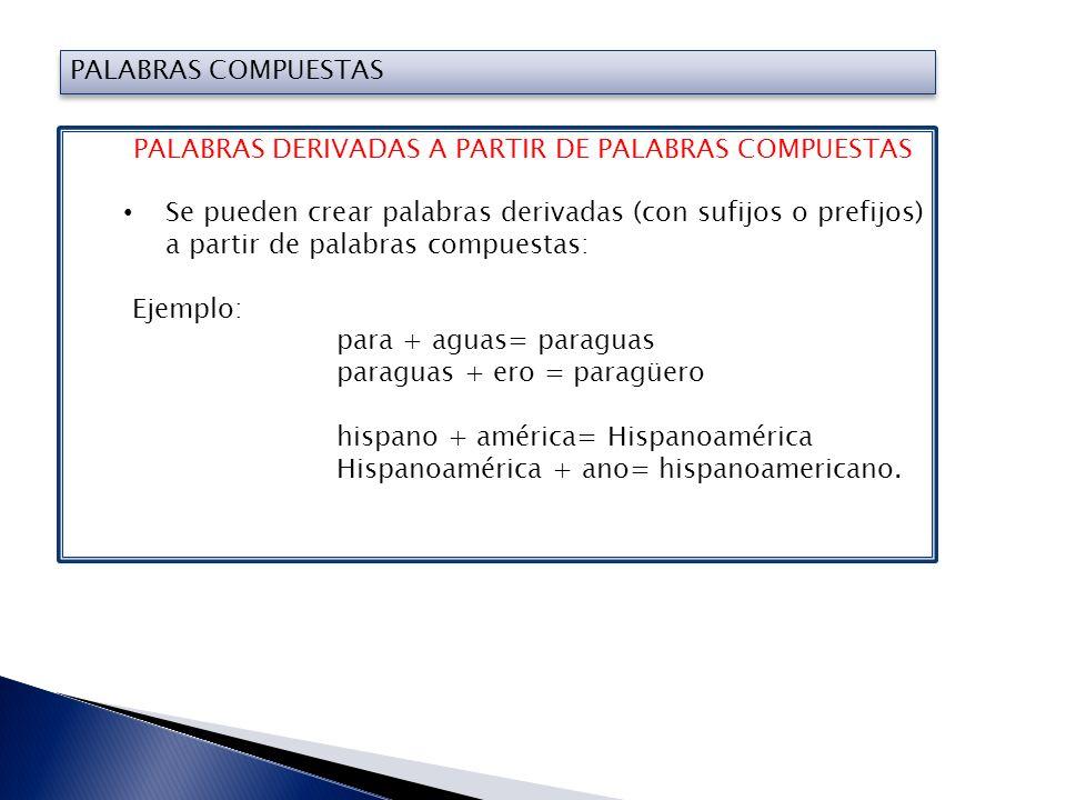 PALABRAS COMPUESTAS PALABRAS COMPUESTAS A PARTIR DE PALABRAS DERIVADAS Se pueden crear palabras compuestas, a partir de palabras derivadas: Ejemplo: habla + nte = hablante (derivada) hispano + hablante = hispanohablante(compuesta).