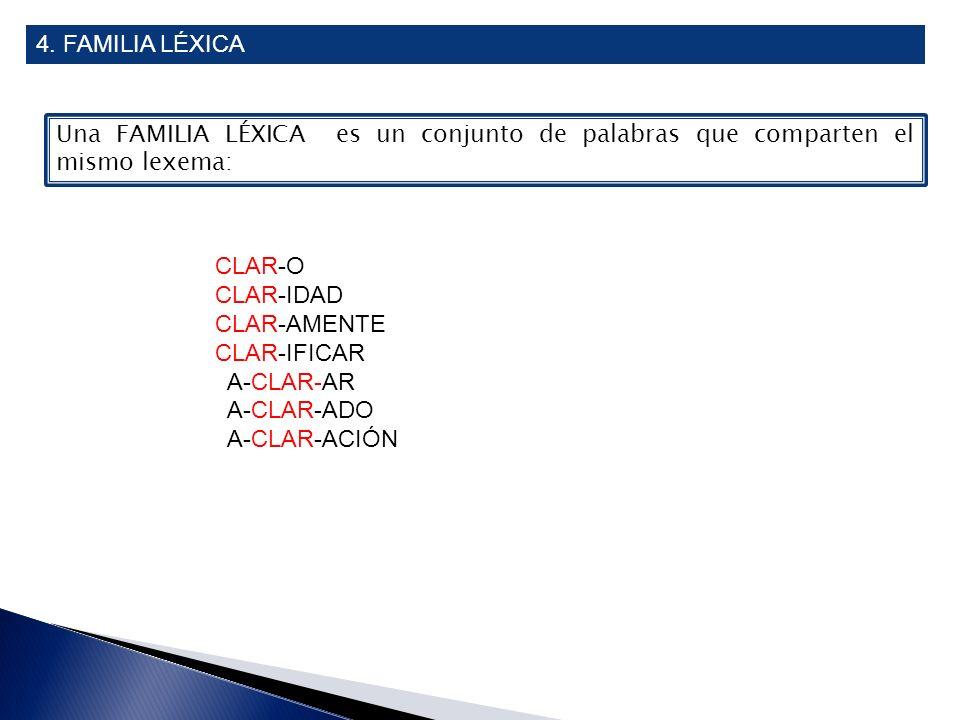 4. FAMILIA LÉXICA Una FAMILIA LÉXICA es un conjunto de palabras que comparten el mismo lexema: CLAR-O CLAR-IDAD CLAR-AMENTE CLAR-IFICAR A-CLAR-AR A-CL