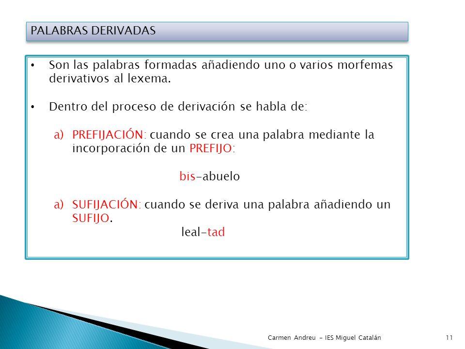 PALABRAS DERIVADAS Son las palabras formadas añadiendo uno o varios morfemas derivativos al lexema. Dentro del proceso de derivación se habla de: a)PR
