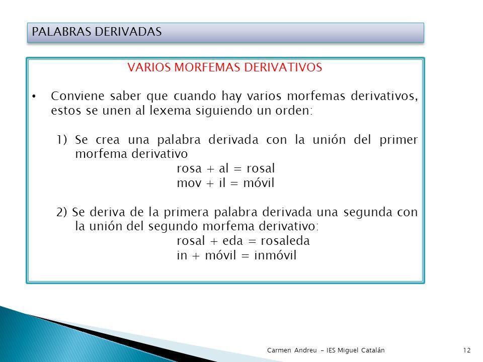 PALABRAS DERIVADAS VARIOS MORFEMAS DERIVATIVOS Conviene saber que cuando hay varios morfemas derivativos, estos se unen al lexema siguiendo un orden: