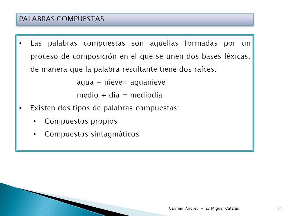 PALABRAS COMPUESTAS Las palabras compuestas son aquellas formadas por un proceso de composición en el que se unen dos bases léxicas, de manera que la