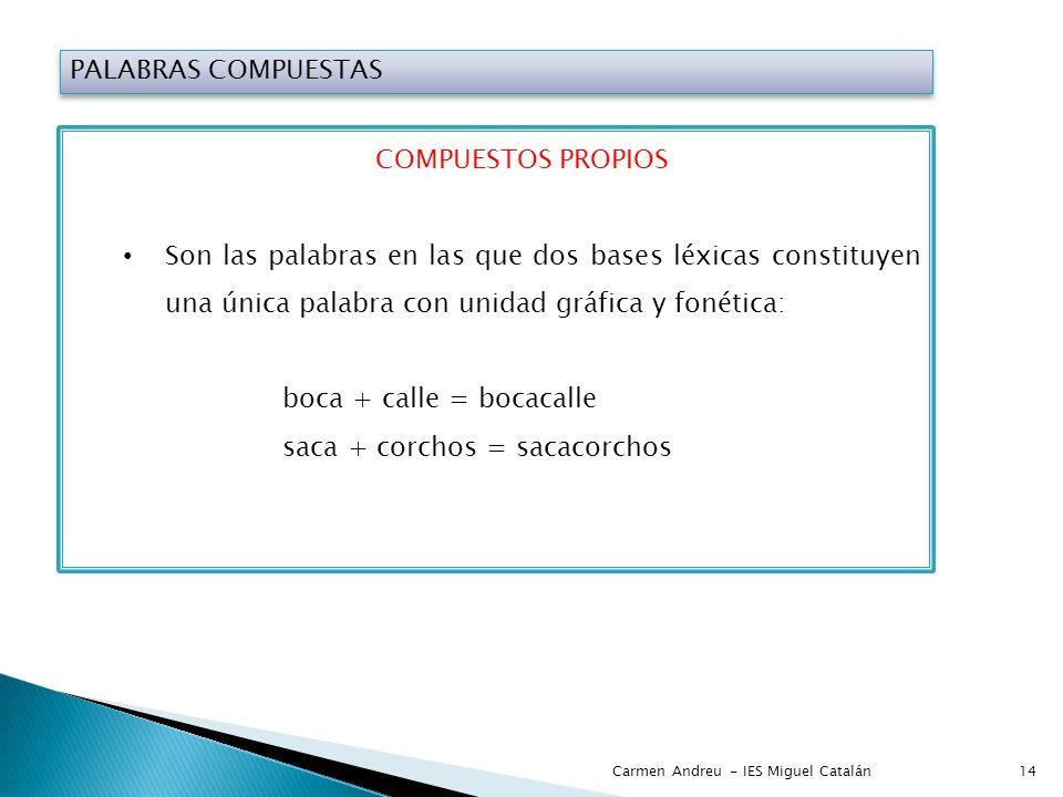 PALABRAS COMPUESTAS COMPUESTOS PROPIOS Son las palabras en las que dos bases léxicas constituyen una única palabra con unidad gráfica y fonética: boca