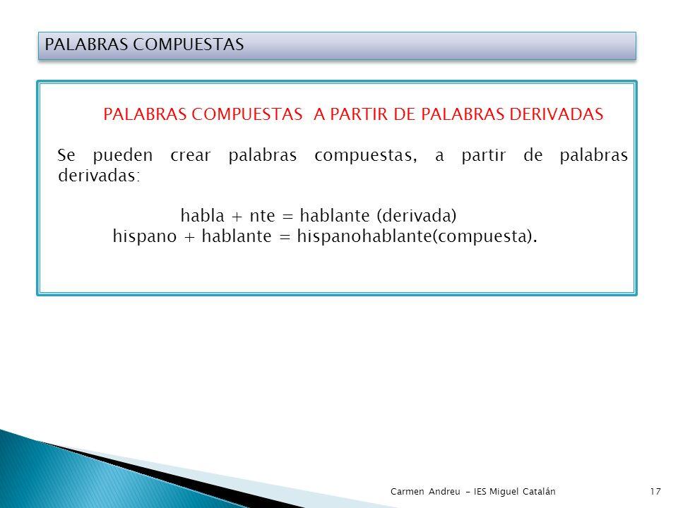 PALABRAS COMPUESTAS PALABRAS COMPUESTAS A PARTIR DE PALABRAS DERIVADAS Se pueden crear palabras compuestas, a partir de palabras derivadas: habla + nt