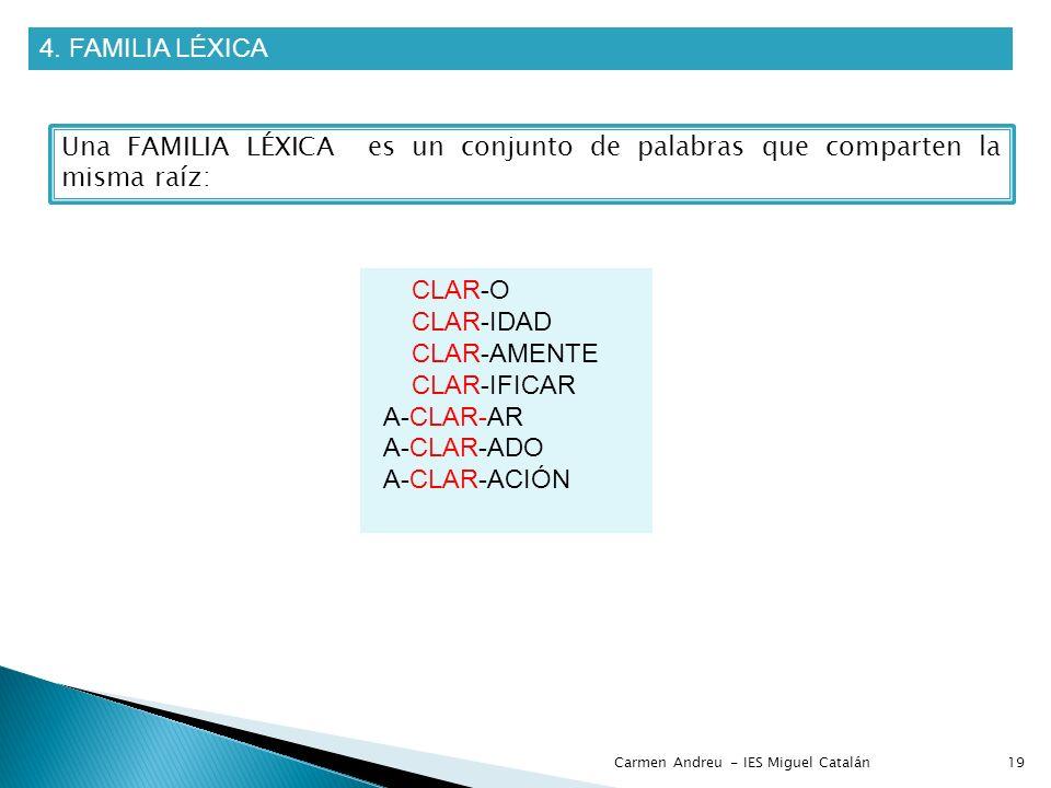 4. FAMILIA LÉXICA Una FAMILIA LÉXICA es un conjunto de palabras que comparten la misma raíz: CLAR-O CLAR-IDAD CLAR-AMENTE CLAR-IFICAR A-CLAR-AR A-CLAR