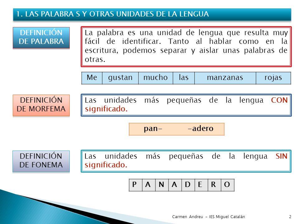 2 1. LAS PALABRA S Y OTRAS UNIDADES DE LA LENGUA DEFINICIÓN DE PALABRA La palabra es una unidad de lengua que resulta muy fácil de identificar. Tanto