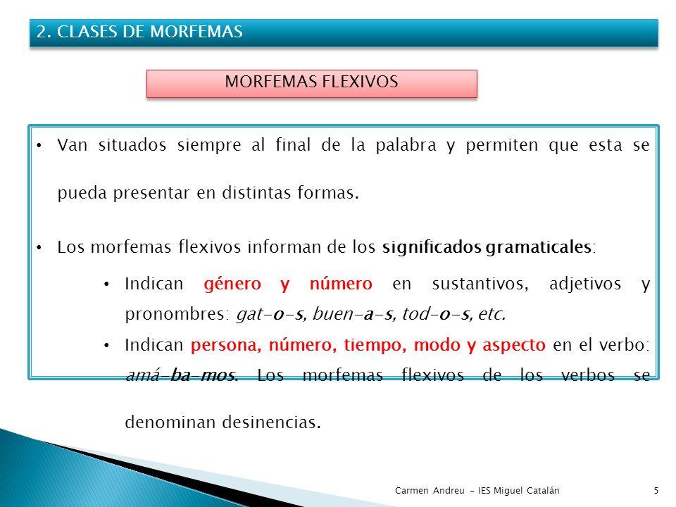 Carmen Andreu - IES Miguel Catalán5 2. CLASES DE MORFEMAS MORFEMAS FLEXIVOS Van situados siempre al final de la palabra y permiten que esta se pueda p