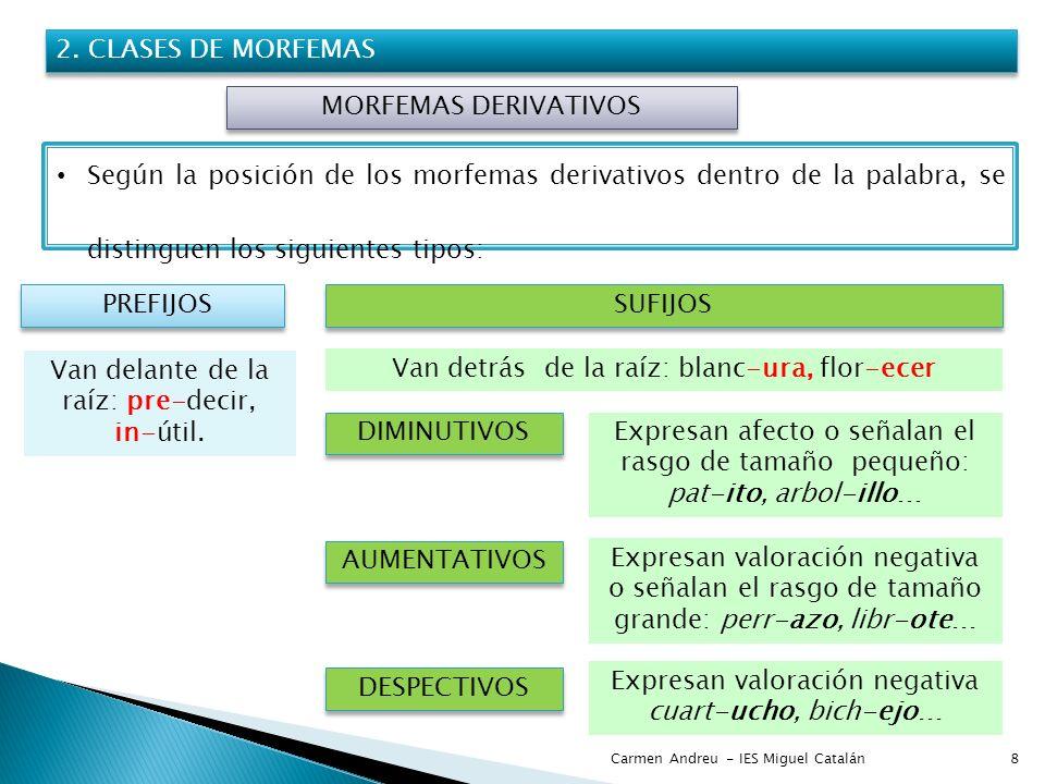 Carmen Andreu - IES Miguel Catalán8 2. CLASES DE MORFEMAS MORFEMAS DERIVATIVOS Según la posición de los morfemas derivativos dentro de la palabra, se