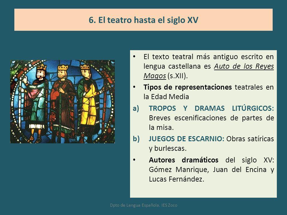 El texto teatral más antiguo escrito en lengua castellana es Auto de los Reyes Magos (s.XII). Tipos de representaciones teatrales en la Edad Media a)T