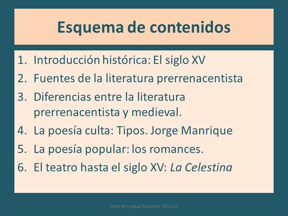 Esquema de contenidos 1.Introducción histórica: El siglo XV 2.Fuentes de la literatura prerrenacentista 3.Diferencias entre la literatura prerrenacent