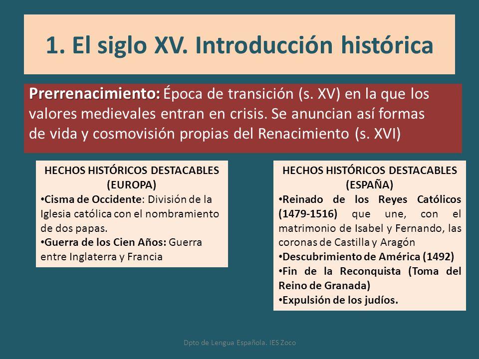 Prerrenacimiento: Prerrenacimiento: Época de transición (s. XV) en la que los valores medievales entran en crisis. Se anuncian así formas de vida y co