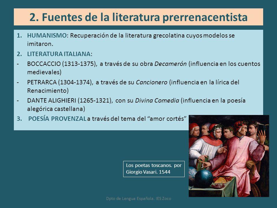 1.HUMANISMO: Recuperación de la literatura grecolatina cuyos modelos se imitaron. 2.LITERATURA ITALIANA: -BOCCACCIO (1313-1375), a través de su obra D