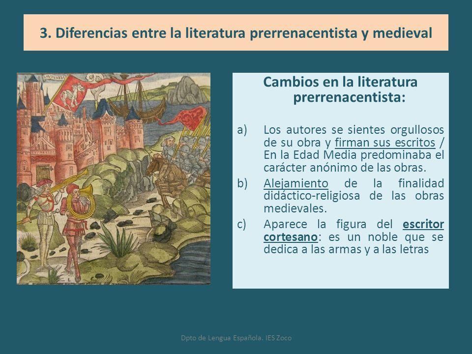 Cambios en la literatura prerrenacentista: a)Los autores se sientes orgullosos de su obra y firman sus escritos / En la Edad Media predominaba el cará
