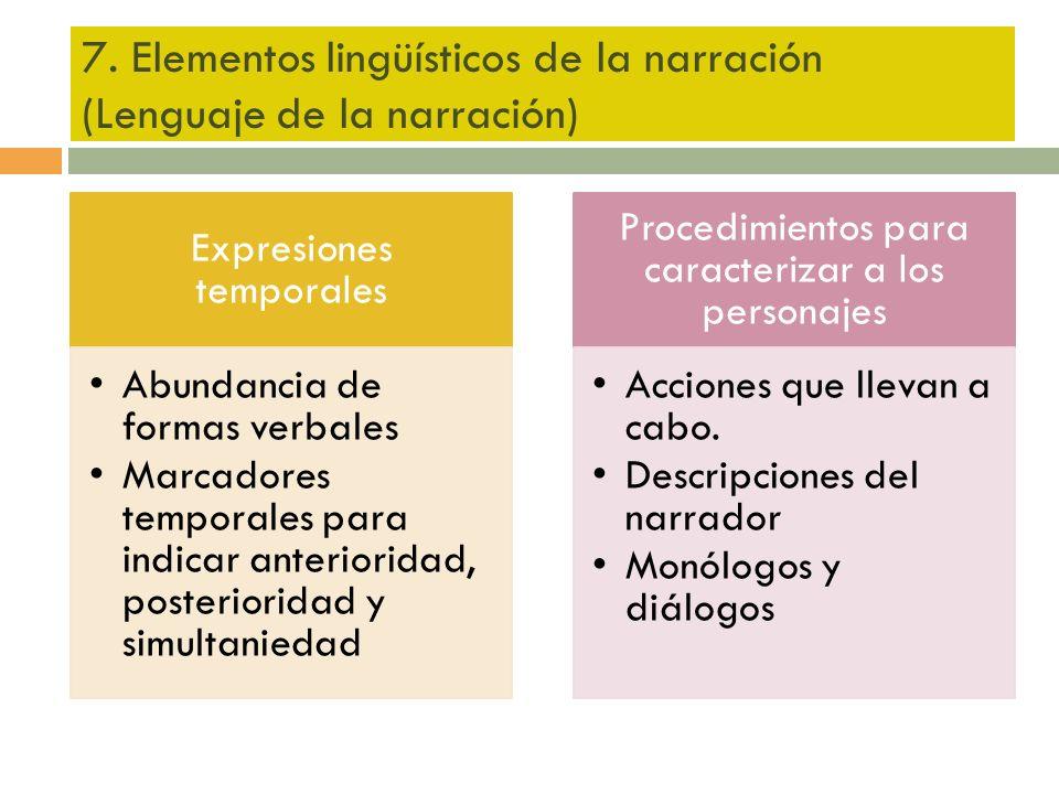 7. Elementos lingüísticos de la narración (Lenguaje de la narración) Expresiones temporales Abundancia de formas verbales Marcadores temporales para i