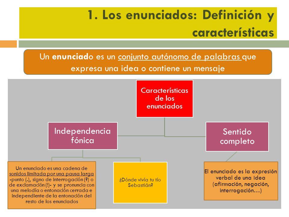 1. Los enunciados: Definición y características Un enunciado es un conjunto autónomo de palabras que expresa una idea o contiene un mensaje Caracterís