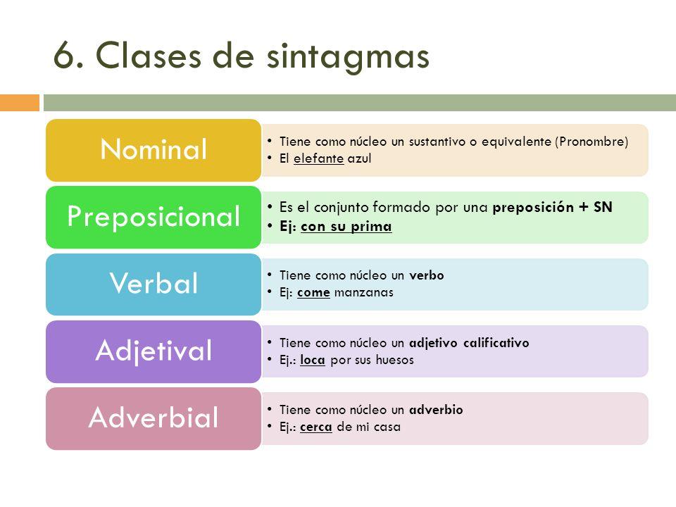 6. Clases de sintagmas Tiene como núcleo un sustantivo o equivalente (Pronombre) El elefante azul Nominal Es el conjunto formado por una preposición +