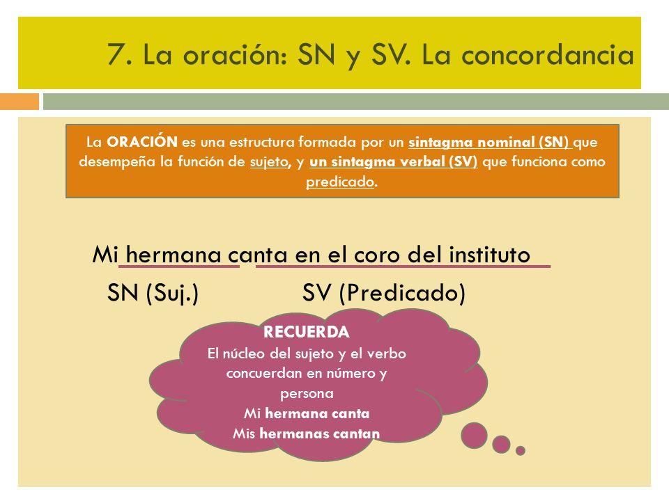7. La oración: SN y SV. La concordancia Mi hermana canta en el coro del instituto SN (Suj.) SV (Predicado) La ORACIÓN es una estructura formada por un