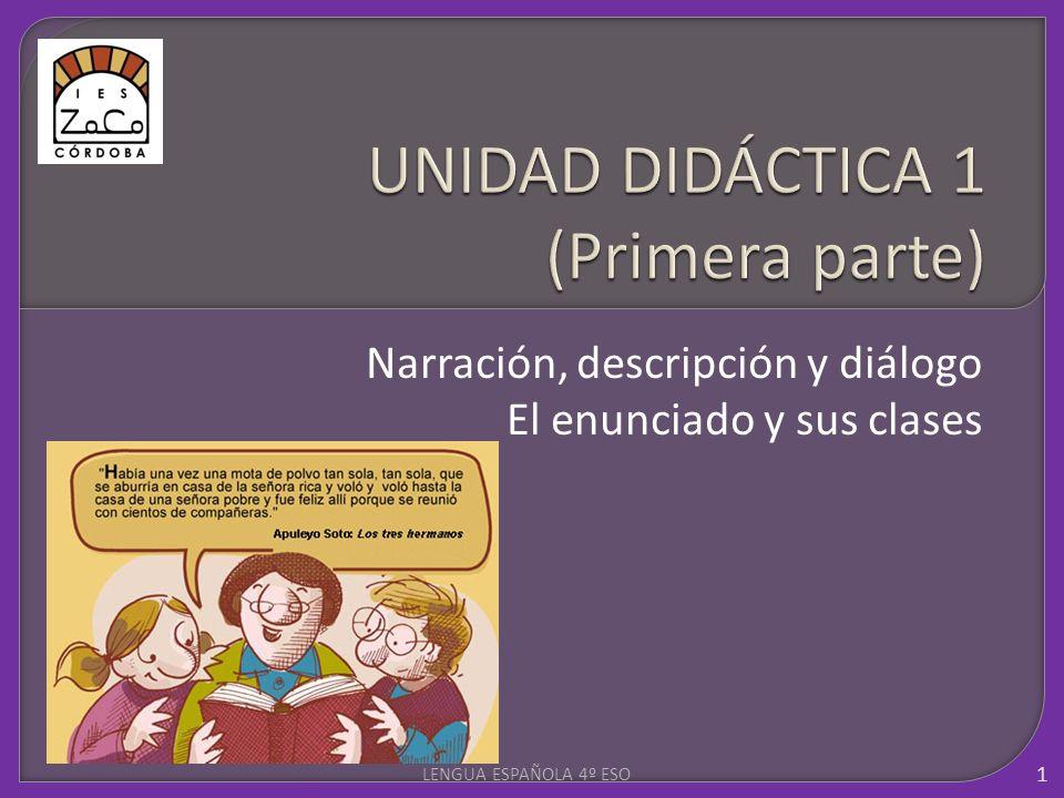 Narración, descripción y diálogo El enunciado y sus clases 1 LENGUA ESPAÑOLA 4º ESO