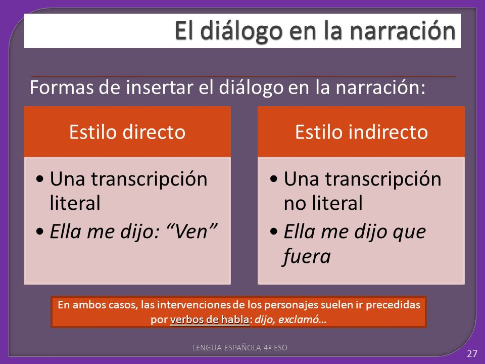 Formas de insertar el diálogo en la narración: LENGUA ESPAÑOLA 4º ESO 27 Estilo directo Una transcripción literal Ella me dijo: Ven Estilo indirecto U