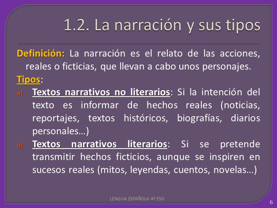 Definición: Definición: La narración es el relato de las acciones, reales o ficticias, que llevan a cabo unos personajes. Tipos Tipos: a) Textos narra