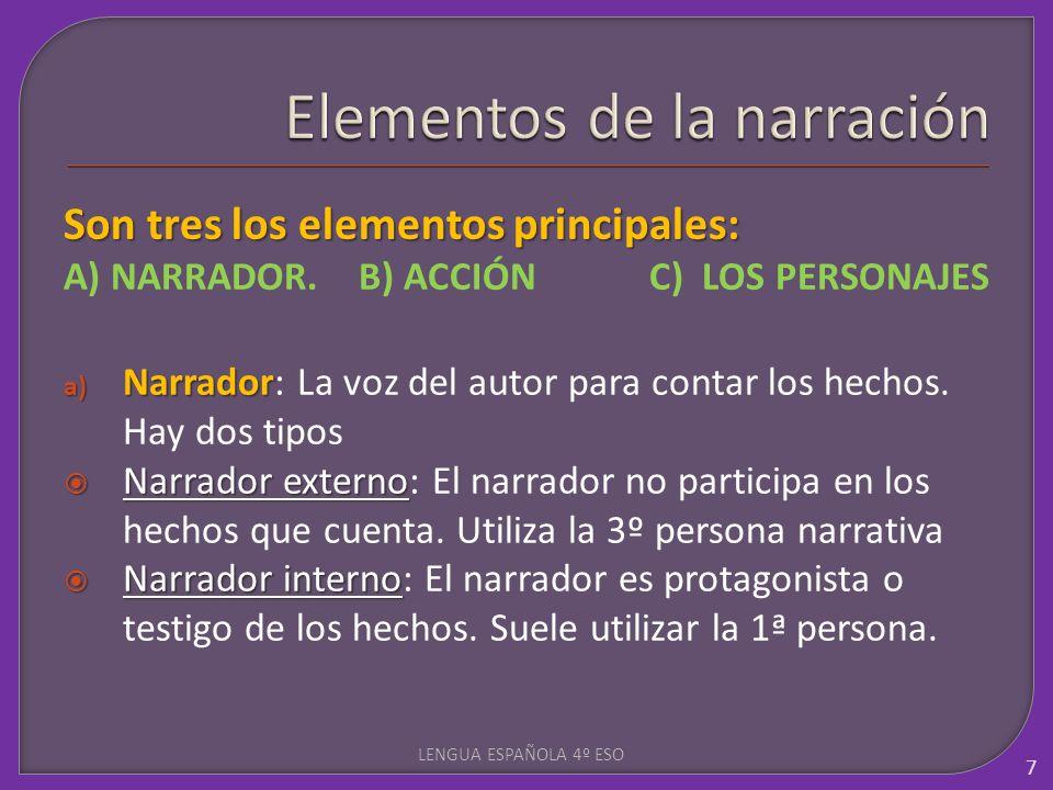 Son tres los elementos principales: A) NARRADOR. B) ACCIÓN C) LOS PERSONAJES a) Narrador a) Narrador: La voz del autor para contar los hechos. Hay dos