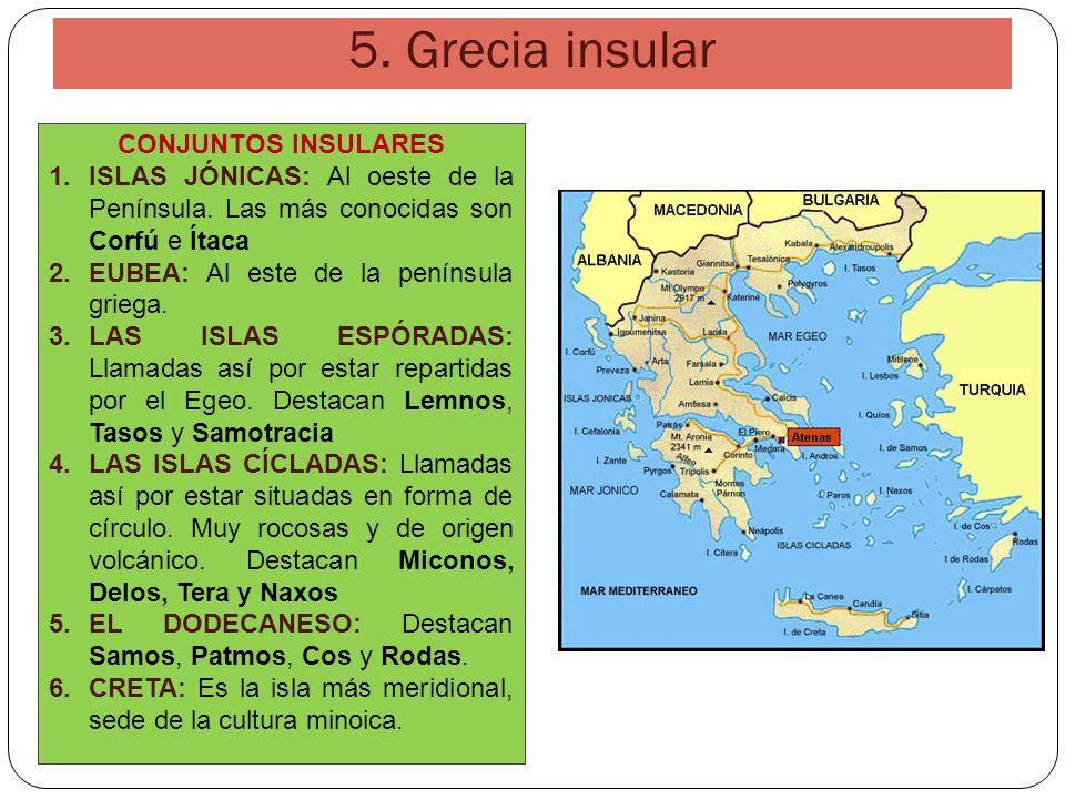 5. Grecia insular CONJUNTOS INSULARES 1.ISLAS JÓNICAS: Al oeste de la Península. Las más conocidas son Corfú e Ítaca 2.EUBEA: Al este de la península