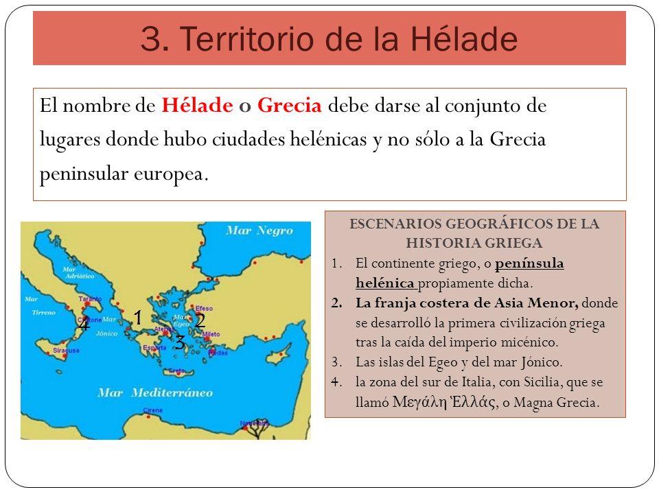 3. Territorio de la Hélade El nombre de Hélade o Grecia debe darse al conjunto de lugares donde hubo ciudades helénicas y no sólo a la Grecia peninsul