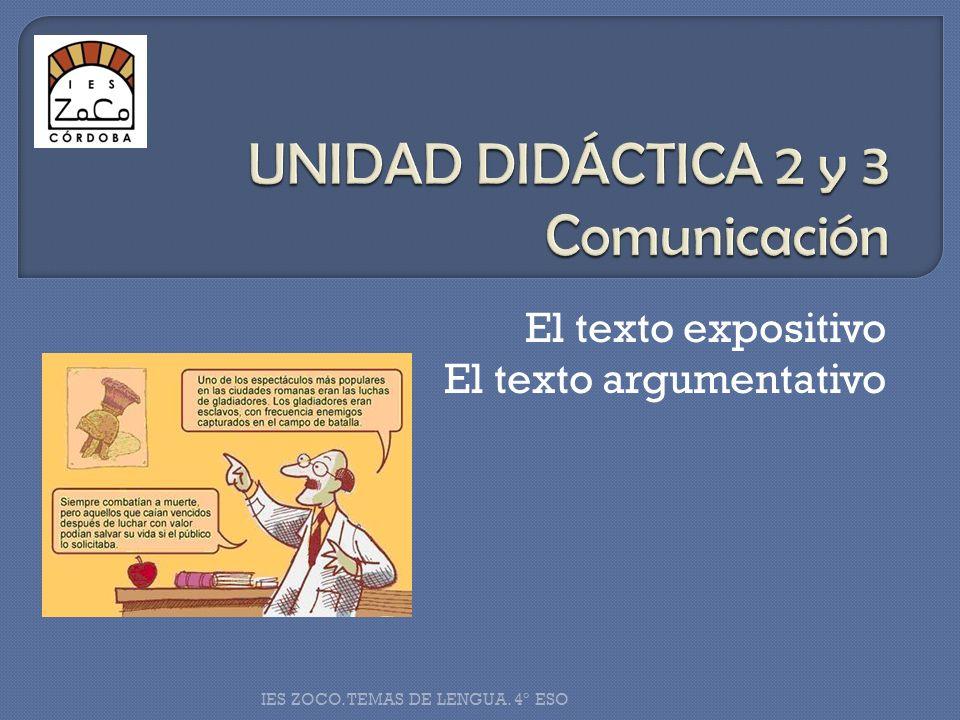 El texto expositivo El texto argumentativo IES ZOCO. TEMAS DE LENGUA. 4º ESO