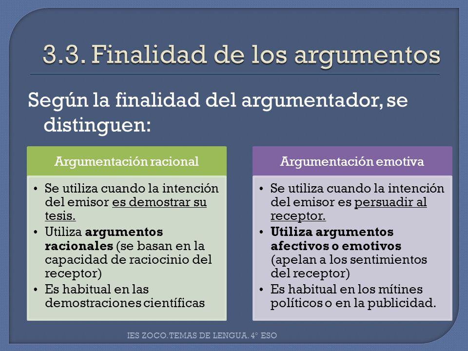 Según la finalidad del argumentador, se distinguen: IES ZOCO. TEMAS DE LENGUA. 4º ESO Argumentación racional Se utiliza cuando la intención del emisor