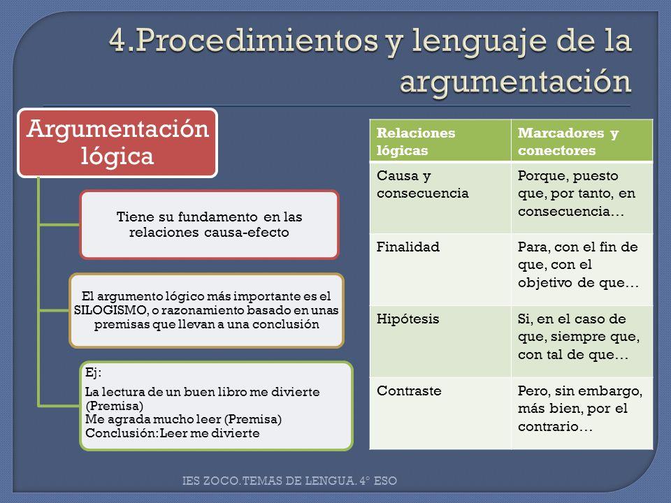 Argumentación lógica Tiene su fundamento en las relaciones causa-efecto El argumento lógico más importante es el SILOGISMO, o razonamiento basado en u
