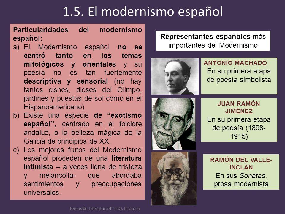 1.5. El modernismo español Temas de Literatura 4º ESO. IES Zoco Particularidades del modernismo español: a)El Modernismo español no se centró tanto en