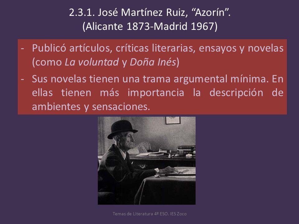 -Publicó artículos, críticas literarias, ensayos y novelas (como La voluntad y Doña Inés) -Sus novelas tienen una trama argumental mínima. En ellas ti
