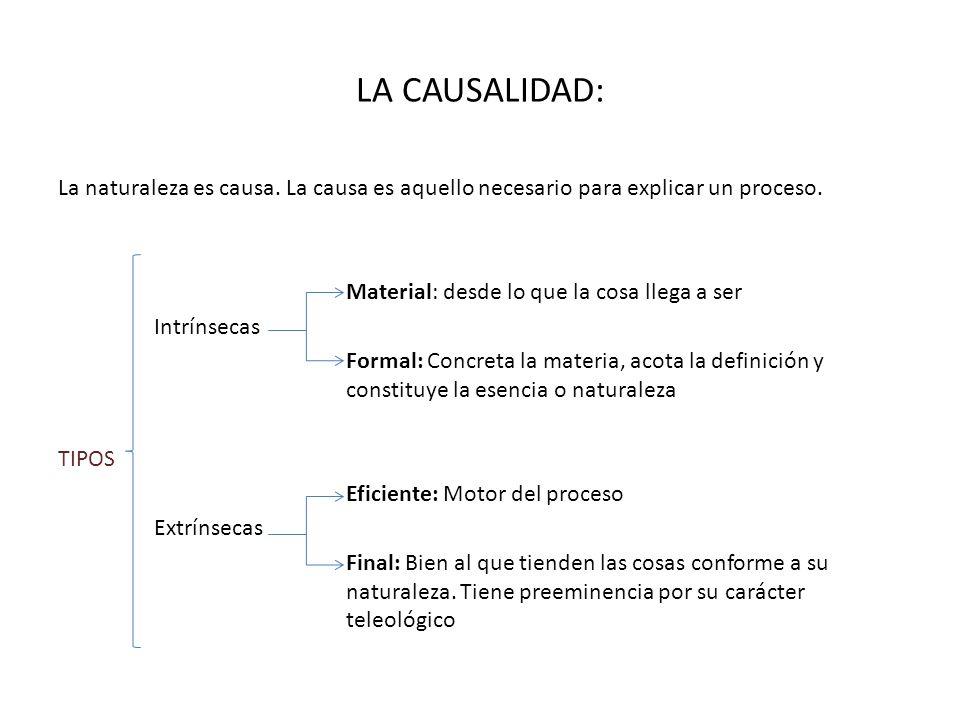 LA CAUSALIDAD: La naturaleza es causa. La causa es aquello necesario para explicar un proceso. Material: desde lo que la cosa llega a ser Intrínsecas