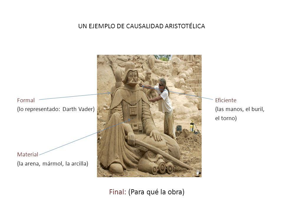 UN EJEMPLO DE CAUSALIDAD ARISTOTÉLICA Formal Eficiente (lo representado: Darth Vader)(las manos, el buril, el torno) Material (la arena, mármol, la ar