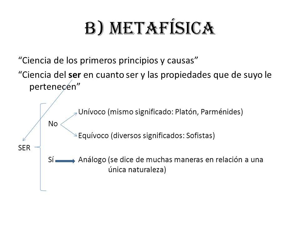 b) metafísica Ciencia de los primeros principios y causas Ciencia del ser en cuanto ser y las propiedades que de suyo le pertenecen Unívoco (mismo sig