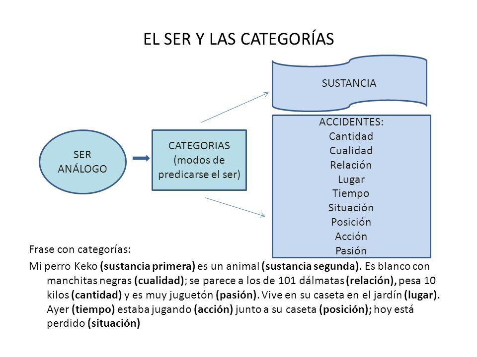 EL SER Y LAS CATEGORÍAS Frase con categorías: Mi perro Keko (sustancia primera) es un animal (sustancia segunda). Es blanco con manchitas negras (cual