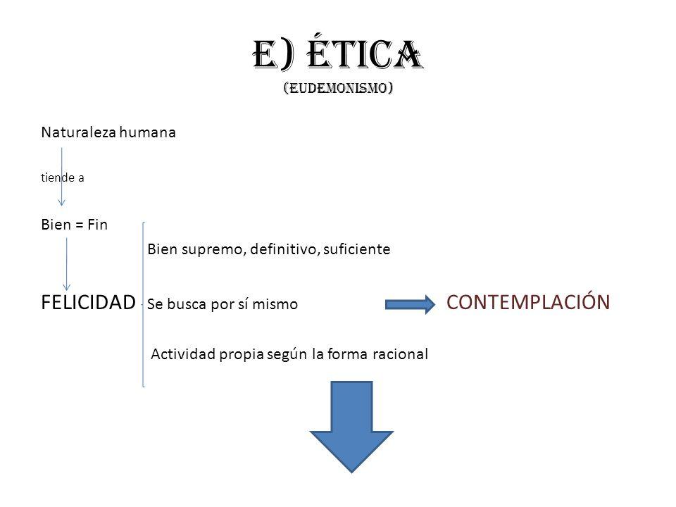 e) Ética (eudemonismo) Naturaleza humana tiende a Bien = Fin Bien supremo, definitivo, suficiente FELICIDAD Se busca por sí mismo CONTEMPLACIÓN Activi