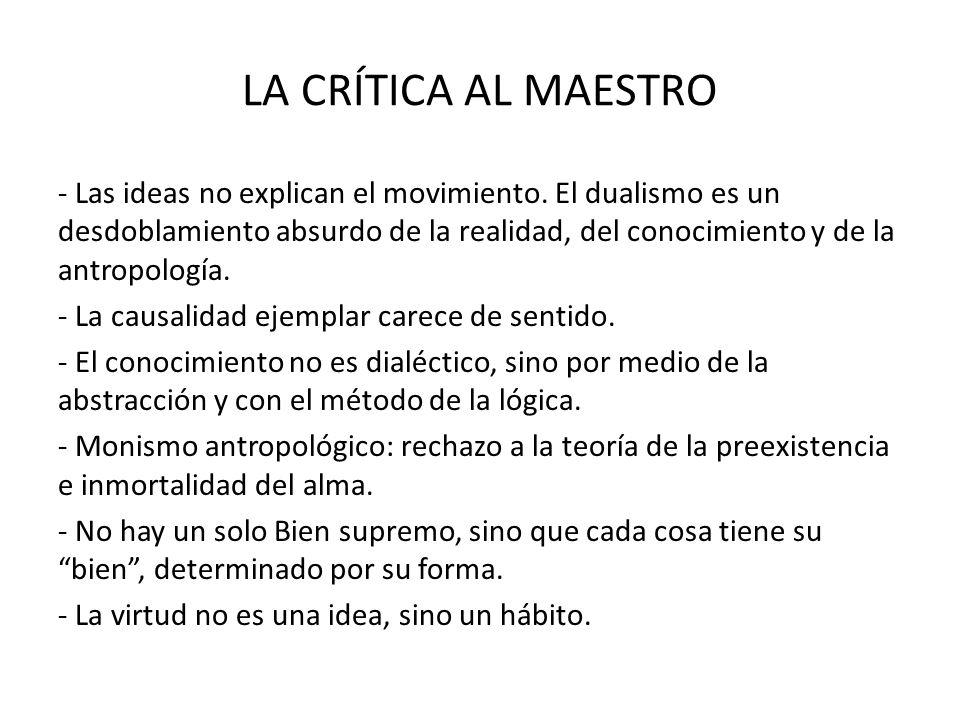 LA CRÍTICA AL MAESTRO - Las ideas no explican el movimiento. El dualismo es un desdoblamiento absurdo de la realidad, del conocimiento y de la antropo