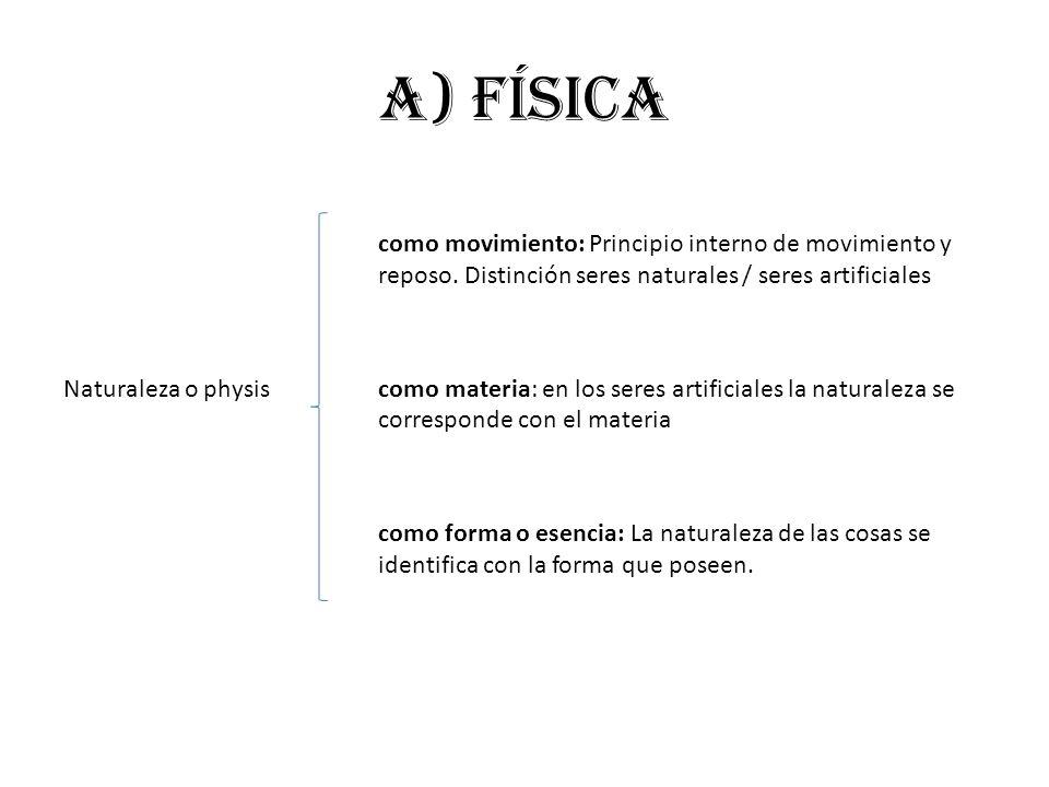 a) FÍSICA como movimiento: Principio interno de movimiento y reposo. Distinción seres naturales / seres artificiales Naturaleza o physiscomo materia: