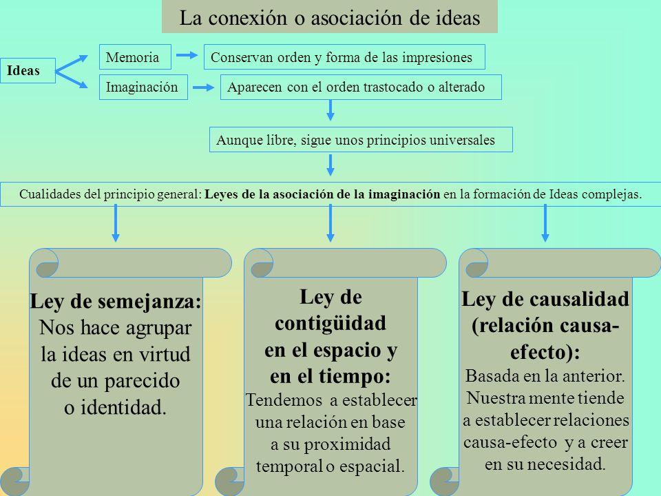 La conexión o asociación de ideas Ideas MemoriaConservan orden y forma de las impresiones ImaginaciónAparecen con el orden trastocado o alterado Aunqu