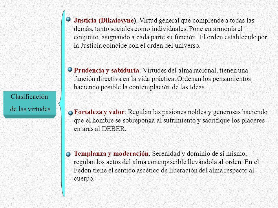 Clasificación de las virtudes Justicia (Dikaiosyne). Virtud general que comprende a todas las demás, tanto sociales como individuales. Pone en armonía