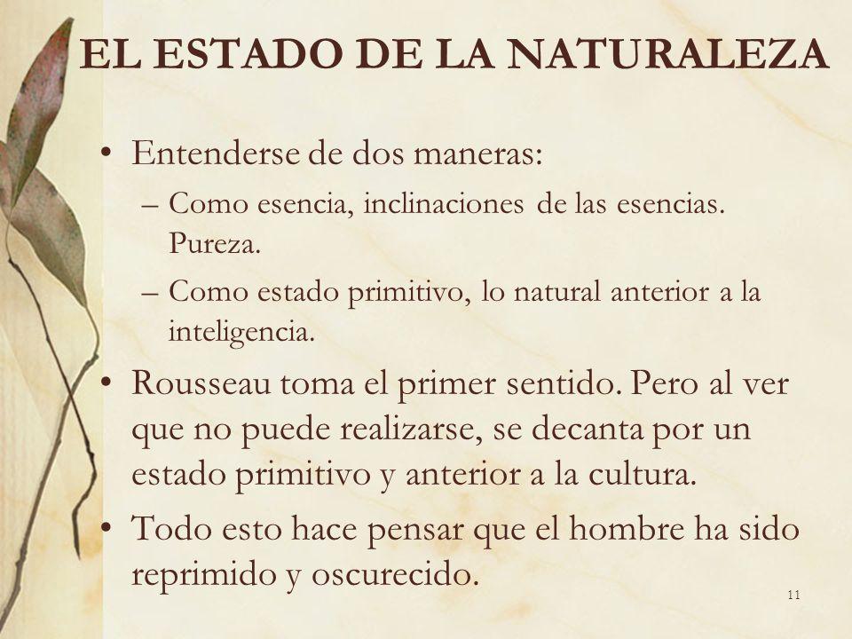 11 EL ESTADO DE LA NATURALEZA Entenderse de dos maneras: –Como esencia, inclinaciones de las esencias. Pureza. –Como estado primitivo, lo natural ante